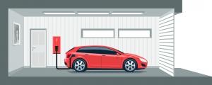 Auto wird in einer Garage geladen